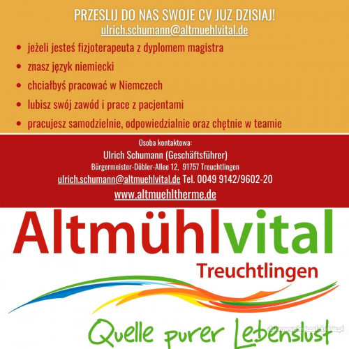 Nowa oferta pracy dla fizjoterapeuty  Treuchtlingen Bayern